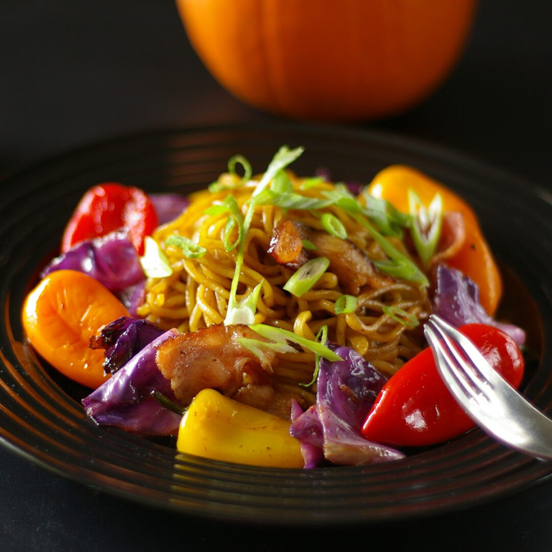 Colorful Vegetables and Bacon Yakisoba