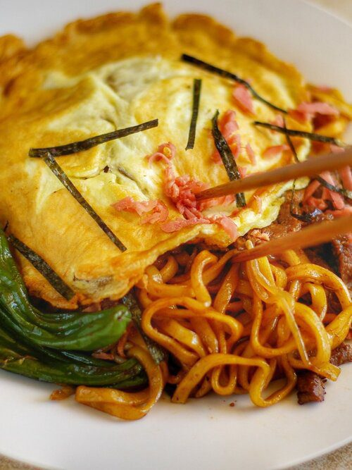 Red ginger on top of yakisoba