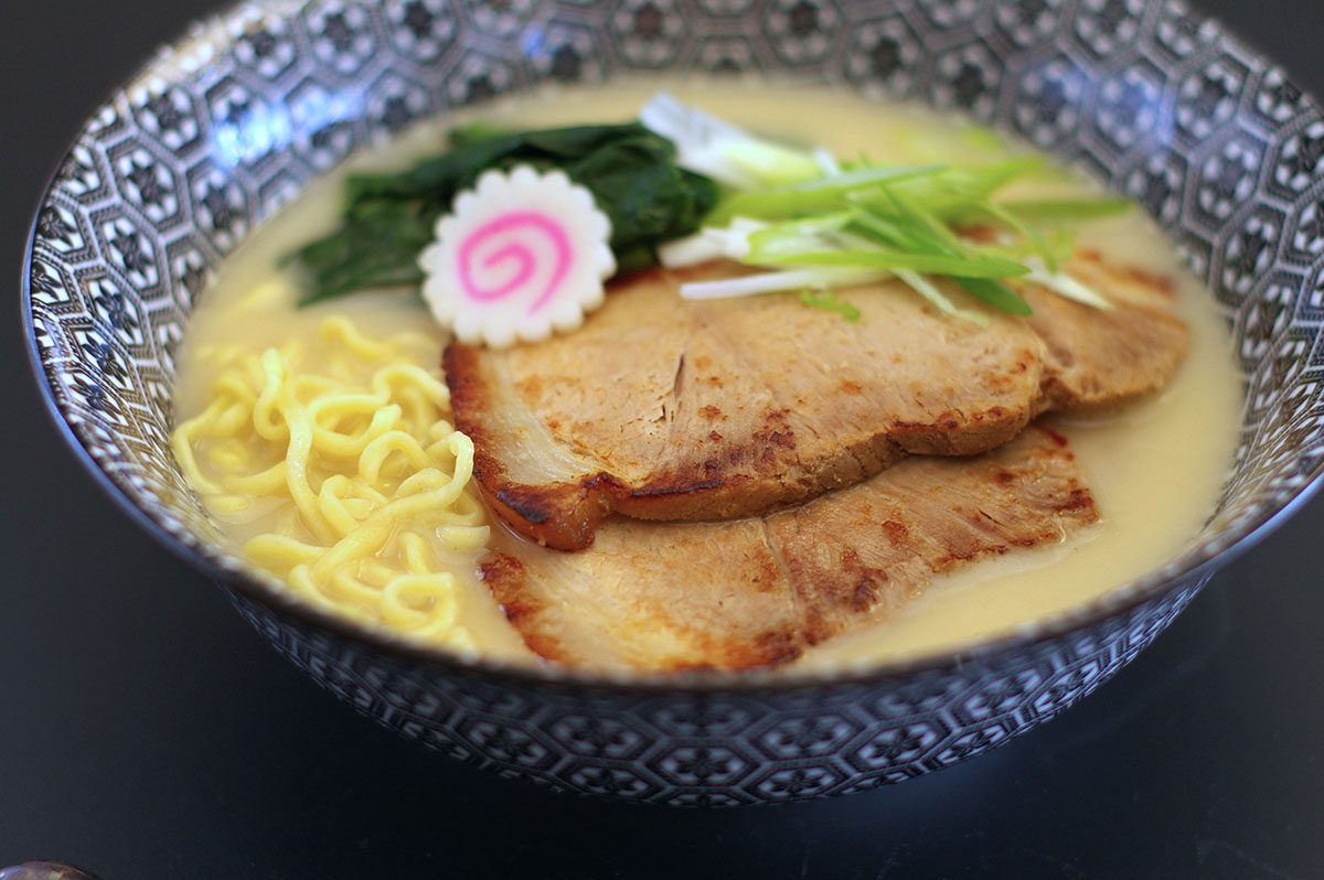 Slow cooked pork chashu on top of ramen