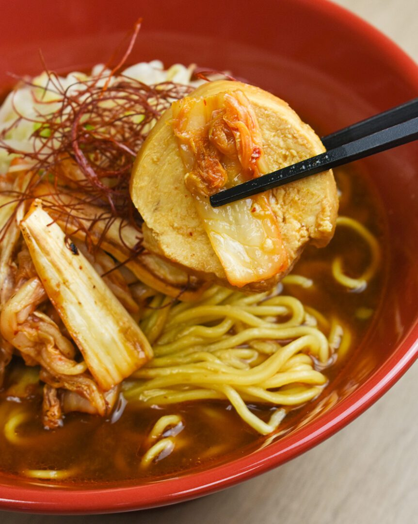 Marinated chicken chashu with the soup base from Signature Miso Ramen