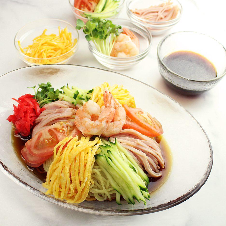 Original Hiyashi Chuka with ingredients