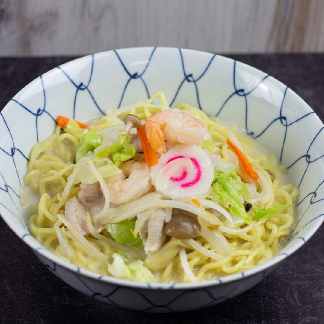 Nagasaki Champon (a regional dish of Nagasaki, Japan) topping with seafood and vegetables