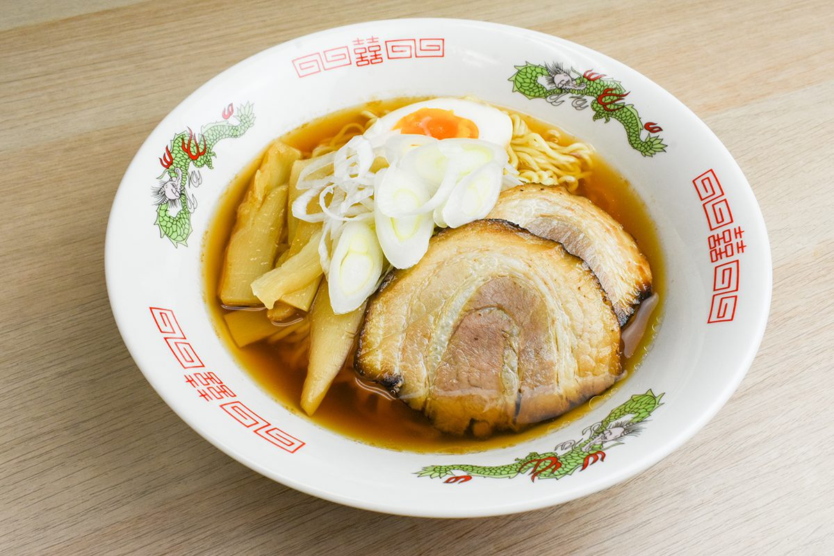 Myojo-style Takayama Ramen which is a regional food from Gifu, Japan with wavy noodles and light soup made with soy sauce and bonito dashi