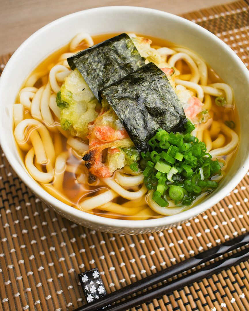 Udon with Seaweed Wrapped Kakiage