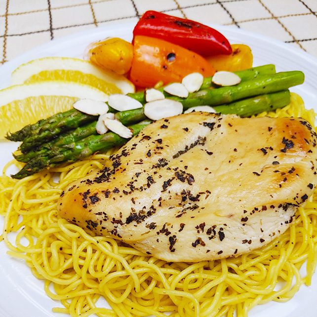 Lemon Pepper Chicken with Yakisoba