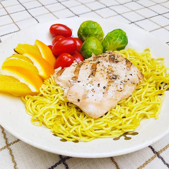 Grilled Salmon with Curry Yakisoba