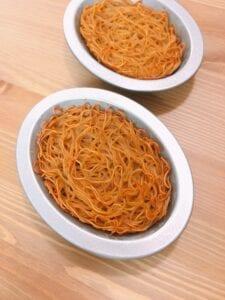 Deviled egg on shoyu ramen nest Step 9 - baked noodle in the tart mold