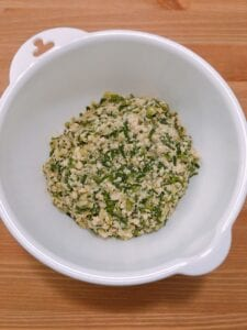 plant-based gyoza (tofu) step 2, mixed ingredients