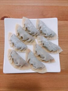 plant-based gyoza (impossible burger meat) Step 3, wrapped the fillings