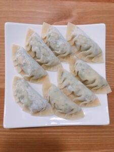 plant-based gyoza (tofu) step 3, wrapped the fillings