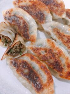 plant-based gyoza (impossible burger meat) step 5