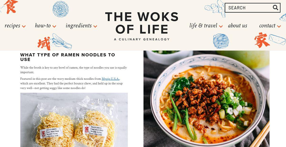 The Woks of Life creates Spicy Tan Tan Ramen using Myojo's noodle