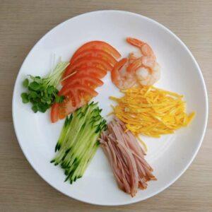 Ingredients of Original Hiyashi Chuka (Cold Ramen)