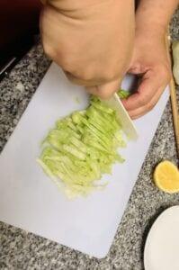 Hiyashi Chuka with Yuzu Lemon Sauce Step 3 - cut the lettuce