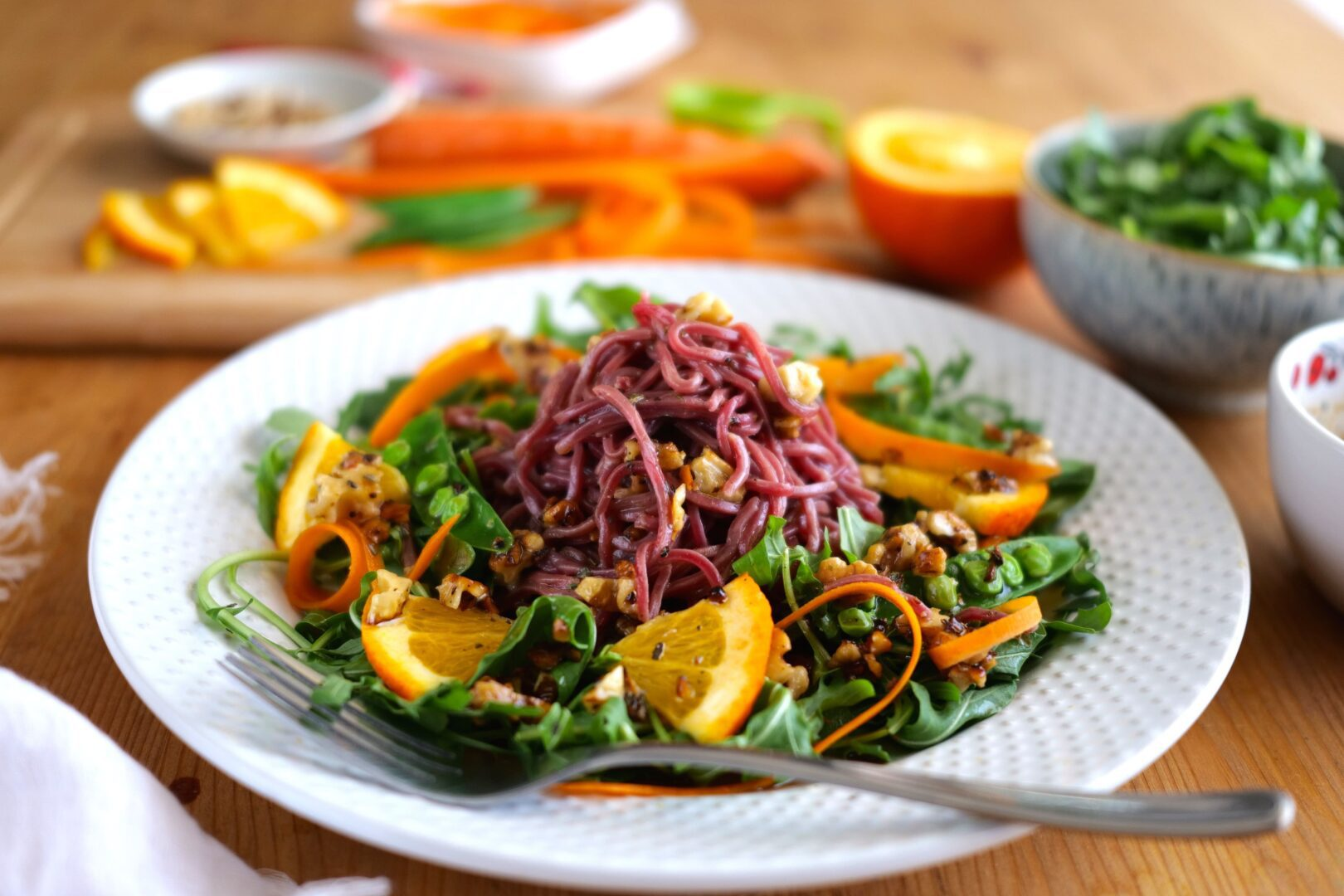 Beets-Noodles Salad with Balsamic Dressing