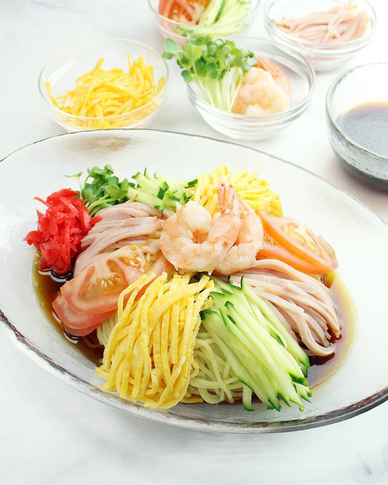 Original Hiyashi Chuka topping with egg, tomato, cucumber, ham, and shrimp