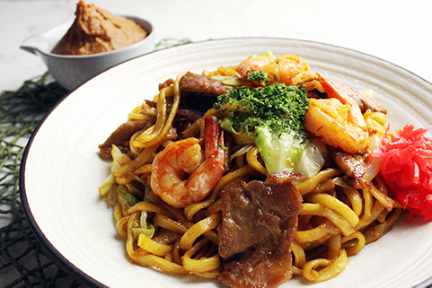 Premium Yakisoba Miso topping with shrimp and pork