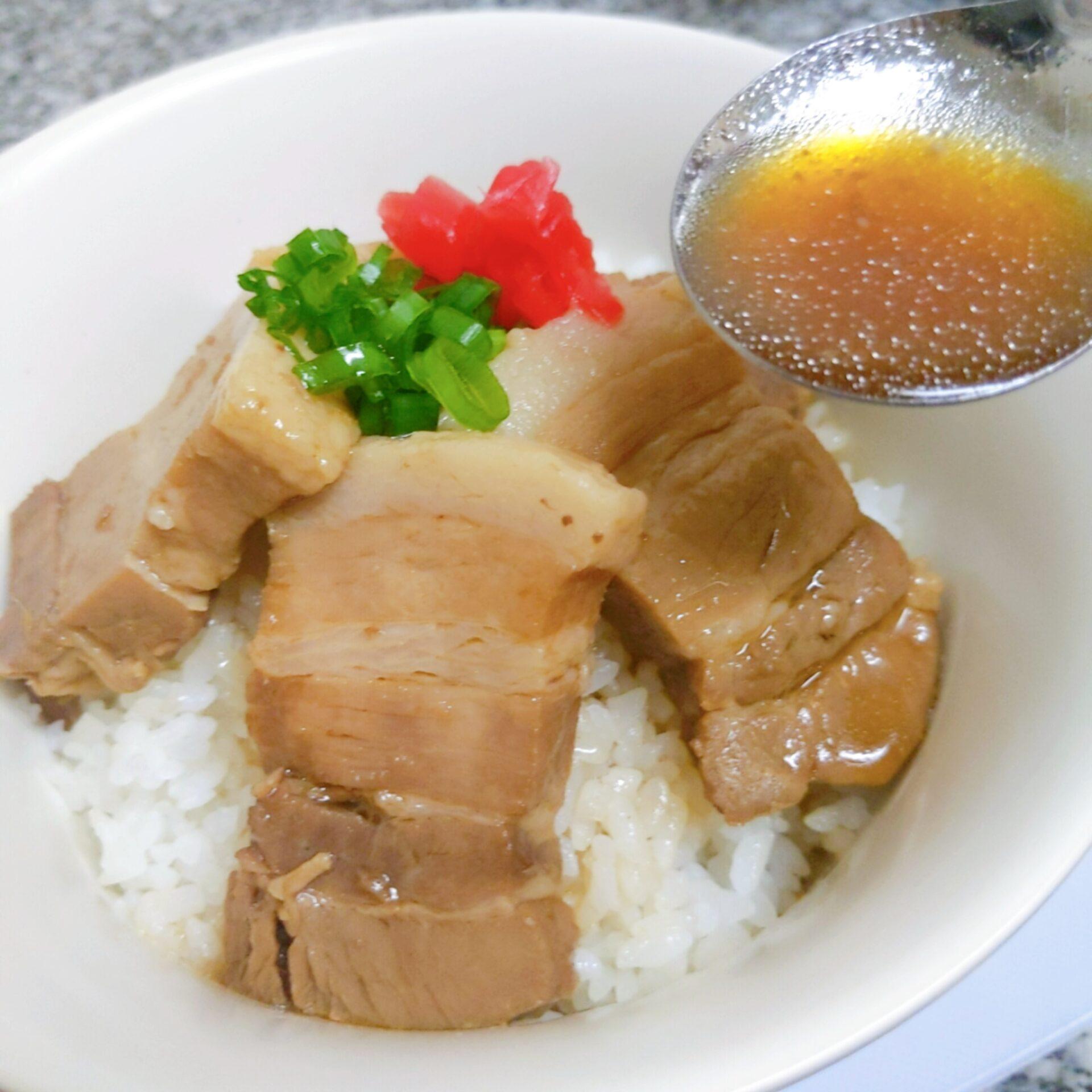 Pork rice bowl - pour the soup left