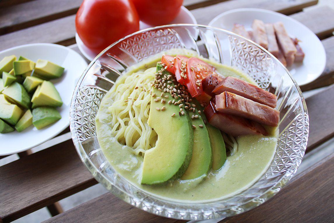 Hiyashi Chuka with Avocado Soup