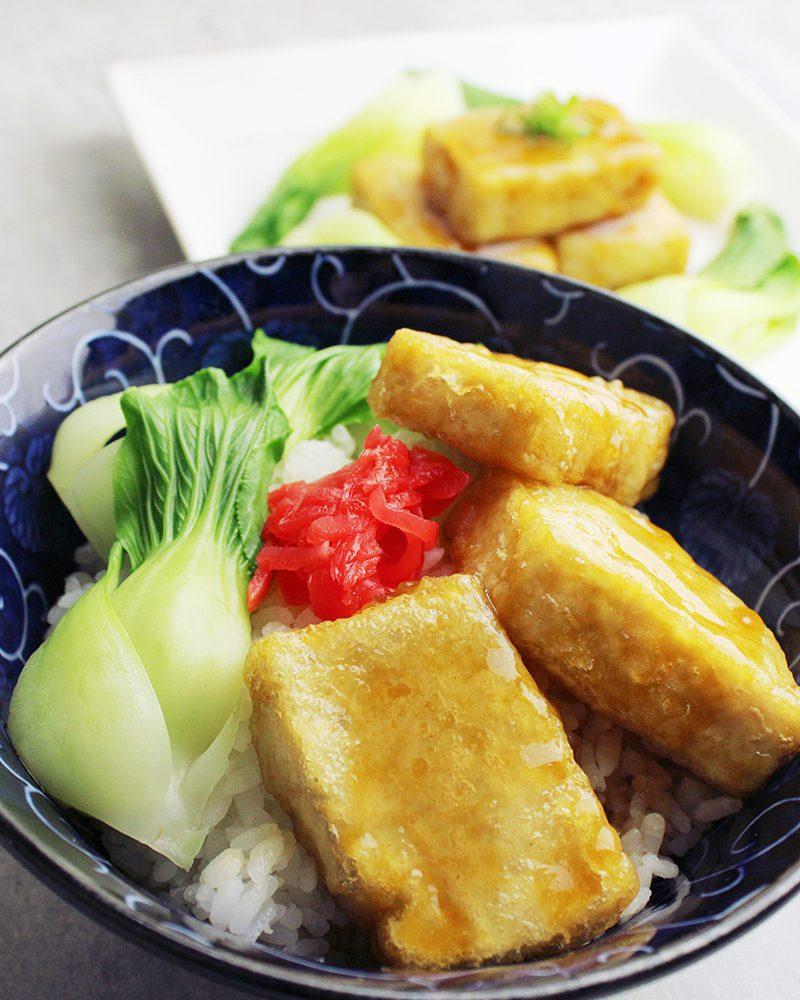 Shoyu-Tofu Rice Bowl (Agedashi-Tofu)